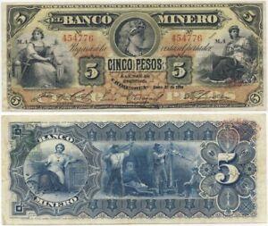 1914 Banknote 💲 El Banco MINERO Chihuahua MEXICO 5 Pesos CRISP!