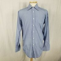 Luciano Barbera 16 x 35/36 Blue Striped Dress Shirt Made in Italy