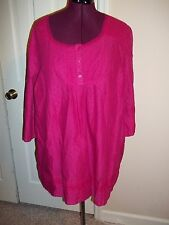 CATHERINES WOMAN'S SIZE 2X BLOUSE 3/4 SLEEVES PINK PULLOVER SHIRT EMBROIDERED TO