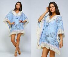 Plus Pastel Blue Sheer Lace Hippie Boho Cover Up Poncho Caftan Top 282 mv Blouse