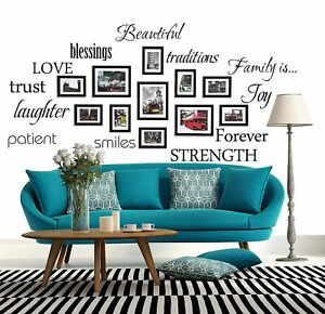 WONZOM Family Words Wall Decal Set Love Trust Blessing Smile Wall Sticker Pic...