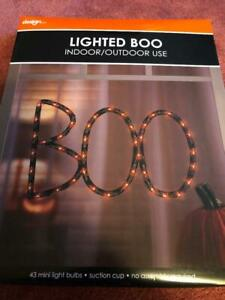 HALLOWEEN LIGHTED WINDOW BOO 43 MINI LIGHT BULBS SUCTION CUP NO ASSEMBLY, NEW.