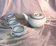 Blue and White Blue Teapot And 3 Teacups Made in China