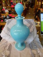 Antique Portieux Vallerysthal Blue Opaline Large Decanter