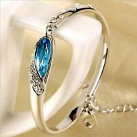 Pulsera mujer brazalete diamante cristal azul oro blanco chapado
