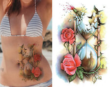 Temporary Tattoo Large Red Roses Hourglass Birds Body Art Fake Waterproof Sheet