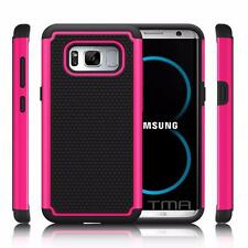 Samsung Galaxy S8 Rugged Rubber Impact Hybrid Shock Proof Case Cover - Hot Pink
