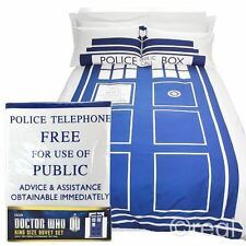 New Doctor Who King Size TARDIS Duvet Cover & Pillowcase Bed Set Quilt Official