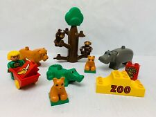 Lego Duplo Zoo Animals & Zoo Keeper Figures Lot with Tree Lion Monkeys Hippo