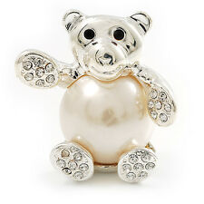 Imitation Pearl Teddy Bear Brooch (Silver Tone)