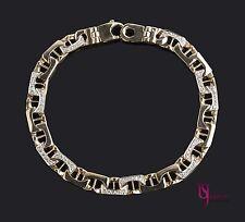 0.80Ct Mens Mariner Anchor Link Diamond Bracelet Solid 14K Yellow Gold Handmade