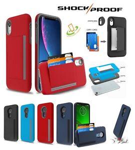 For Motorola Moto G8 PLAY Wallet Case 3 Cards Holder Rubber Hard Hybrid Cover