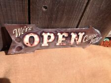 """We're Open Come In This Way To Arrow Sign Directional Novelty Metal 17"""" x 5"""""""