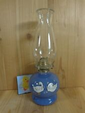 "Vintage HURRICANE OIL LAMP 14"" BLUE GEESE DUCKS Clear Chimney"