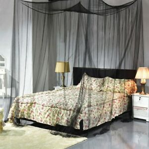 4 Corner Bed Canopy Mosquito Net Full Queen King Size Netting Black Bedding'