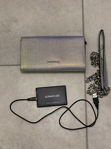 Rebecca Minkoff Love in Charge Iridescent Crossbody Bag Clutch Wallet Charger