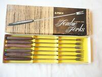 "Set of 6 Vintage Stainless Steel Oster Fondue Forks Wood Handles Colored Tip 10"""