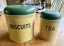 2 Vintage Worcester Ware Kitchenalia Tins, Canisters, Biscuits And Tea