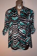 COMO Tunic Blouse M Medium Blue Zebra Print Roll-up Sleeve Shirt Top