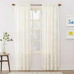 "Vintage Lace Curtains Panels Floral Sheer Rod Pocket Ivory 58"" x 84"" Bedroom NEW"