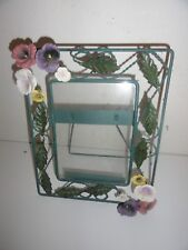 """PICTURE FRAME WITH GLASS AND RAISED FLOWERS-10"""" X 8"""""""