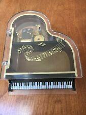 Vtg Wind-Up See Thru Music Box Piano Baby Grand Jewelry Box