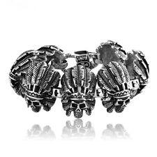 Native American Men Stainless Steel Heavy Indian Apache Chief Skull Bracelet