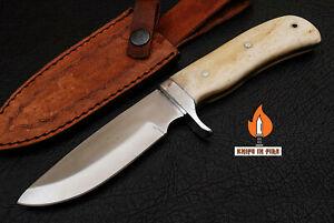 HANDMADE STAINLESS STEEL FULL TANG SKINNER HUNTING OUTDOOR KNIFE CAMEL BONE
