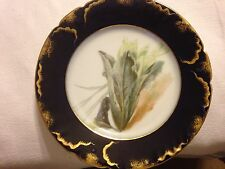 Black and Gold Trim 8.5 Inch Salad plate Limoges France with Display Stand