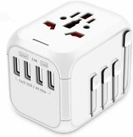 Upgraded Travel Adapter, All-in-one International Power Adapter with 4 USB Ports