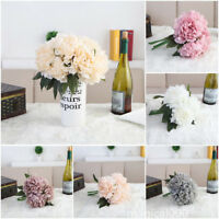 1 Bouquet Artificial Fake peony silk flower bride hydrangea wedding decora M00