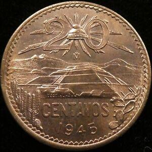 1945 Mexico 20 Centavos BU