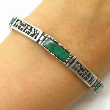"Vtg 925 Sterling Silver Real Chrysocolla Gem Mexican Theme Link Bracelet 6.5"""