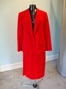 Vintage PENDLETON Red Wool Lined Jacket Skirt Suit Size 16