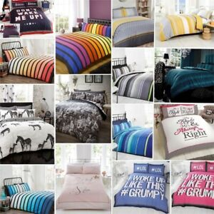 Stripe / Stripey Duvet Quilt Comforter Cover Bedding Set + Pillow Covers