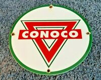 VINTAGE CONOCO GASOLINE PORCELAIN GAS SERVICE STATION PUMP PLATE AD SIGN