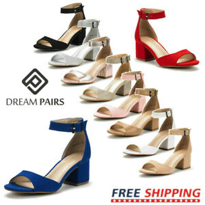 Women's Low Chunky Heel Sandals Ankle Strap Open Toe Pump Sandals Shoes