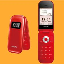 "Philips E320 Red 2MP BT FM 2.6"" QVGA Dual SIM GSM 2G Quadband Flip Cell Phone"