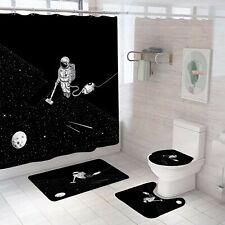 Spaceman Shower Curtain Set Bathroom Rugs Bath Mat Non-Slip Toilet Lid Cover