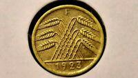 GERMANY 1923-F 5 RENTEN PFENNIG XF STUTTGART WEIMAR REPUBLIC  PENSION PENNY