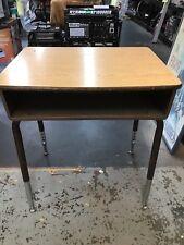 Student School Desk Computer Adjustable Metal Legs Wood Top Open Front Home Kids
