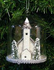CARDBOARD PUTZ MICA CHRISTMAS VILLAGE CHURCH IN GLASS DOME CHRISTMAS ORNAMENT