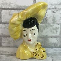 Vintage Yellow Beautiful Lady Head Vase Ceramic Gold Trim Bow Red Lipstick