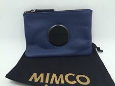 BNWT MIMCO SMALL MIM POUCH WALLET PRUSSIAN BLUE LEATHER MATT BLACK HARDWARE