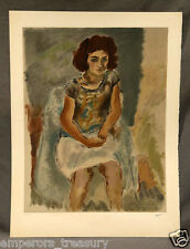 """Early 20th Century French Lithograph Jules Pascin's Seated Woman """"Nana"""""""