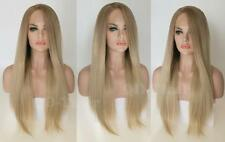Natural Roots Women Long Straight Two Tone Ombre Ash Blonde Lace Front Hair Wig