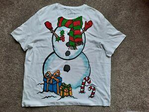 Gorgeous White Christmas Snowman Top size 3XL