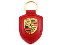 718 GTS 918 911 Macan Porsche Wappen Schlüsselanhänger Leder rot original