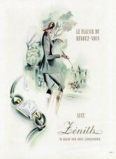 """""""MONTRE ZENITH"""" Annonce originale entoilée PLAISIR DE FRANCE 1948 LUX"""