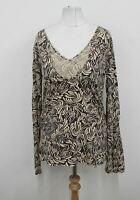 FAT FACE Ladies Beige Brown Abstract Printed Long Sleeved Beeba Top UK12 BNWT